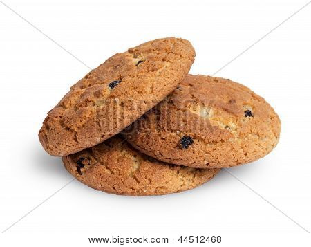 Heap Of Oat Cookies With Raisins