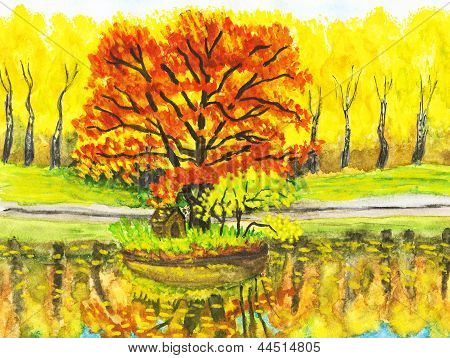 Autumn Landscape With Red Tree, Painting