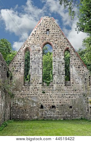 Gable End Of A Destroyed Monastery Church
