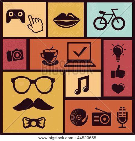 Conjunto de vetor com ícones de moda Hipster