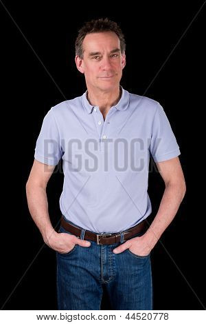 Happy Smiling Man With Hands In Pockets Relaxed