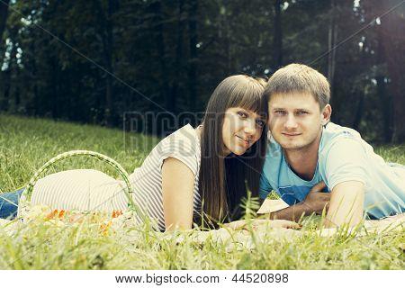 Young enamoured couple