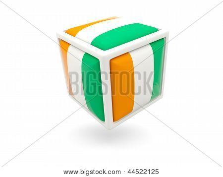 Flag Of Cote D Ivoire. Cube Icon