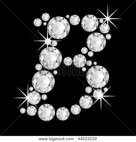 Luxury jewelry alphabet diamonds B