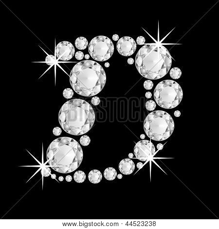 Luxury jewelry alphabet diamonds D