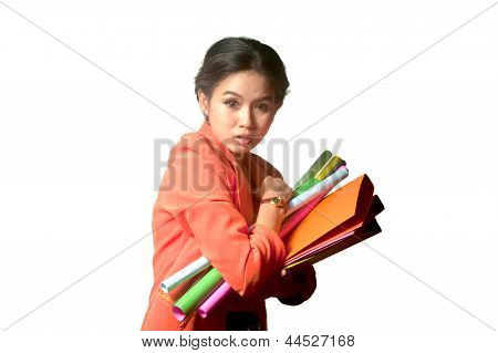 Busy Business Woman With A Lot Of Folders And Papers ,isolated On White Background .