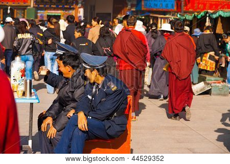 Policemen Security Watching Barkhor Lhasa Tibet