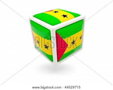 Flag Of Sao Tome And Principe. Cube Icon