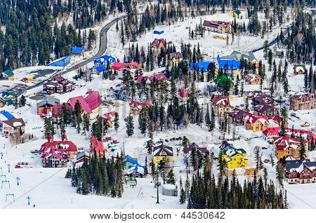 SHORIA, RUSSIA - APRIL 2013: ski resort Sheregesh.