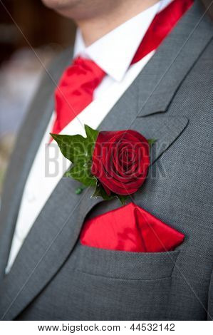 Groom Red Rose Buttonhole Wedding