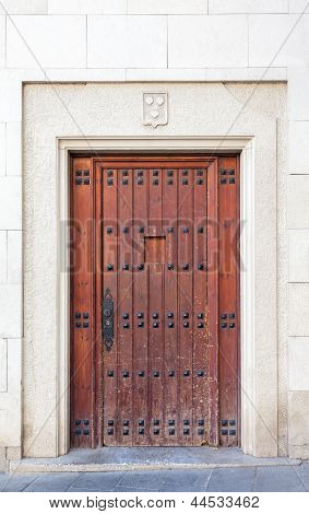 Old Door At Sarri� Quarter Of Barcelona