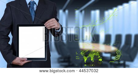 Businessman Success Working With Blank Tablet Computer His Board Room Background
