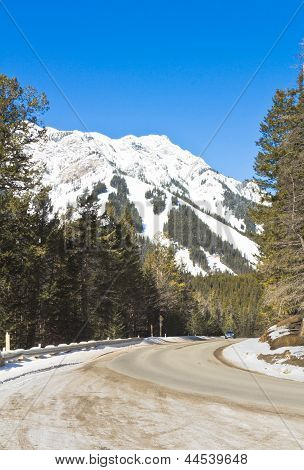 Car On Road To Mount Norquay