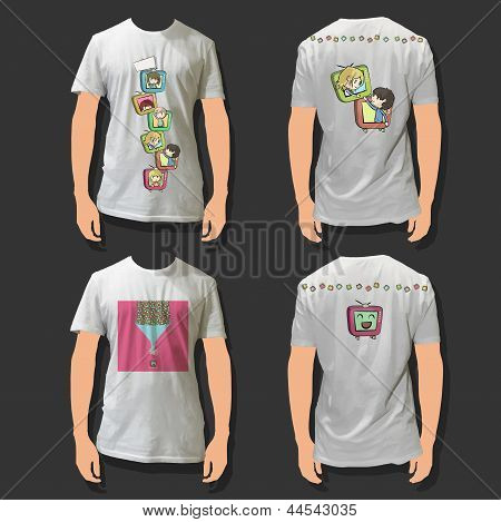 Collection Of Shirts With Fanny Kids On Tv Inside. Realistic Vector Illustration.