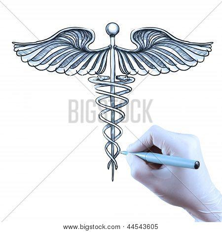 Doctor Hand Draws Caduceus
