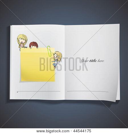 Kids Around Post It On White Book. Vector Design.