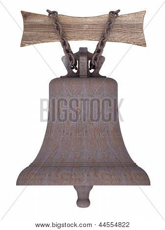 Rusty Ship's Bell Suspended On Wooden Board By Rusty Chain