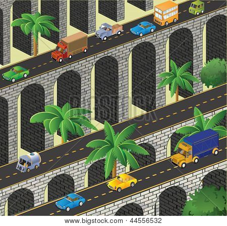 Isometric vector road