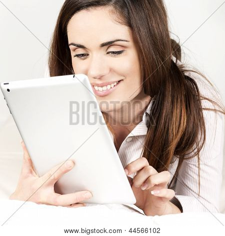 Beautiful Smiling Woman With Tablet