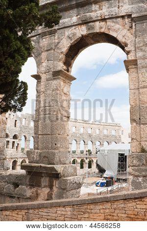 Roman Amphitheater In Pula, Croatia
