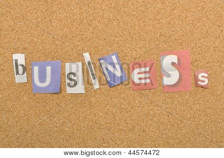 Business Word Made From Newspaper Letter
