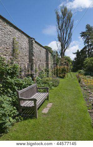 Garden Bench In Walled Garden