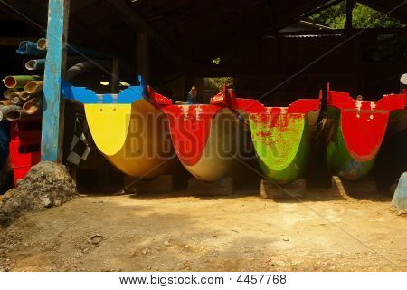 Four Colorful Boats