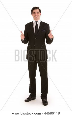 Successful Businessman Giving A Double Thumbs Up