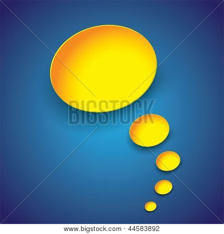 Yellow Paper Thought Bubbles On Blue Background- Vector Illustration.