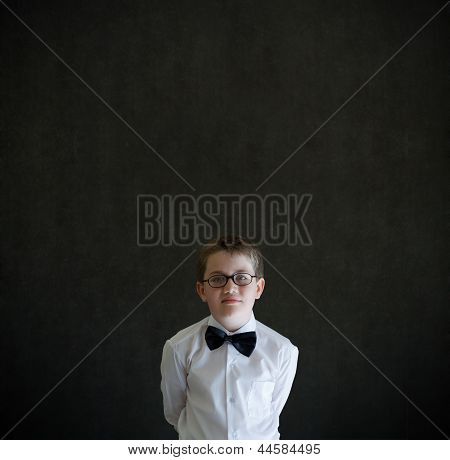 Hands Behind Back Boy Dressed Up As Business Man