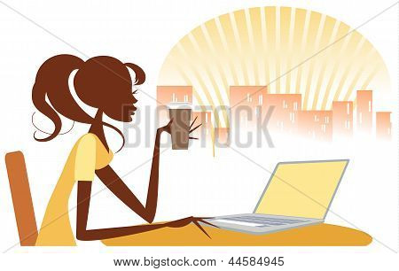 Girl Using Internet with Coffee