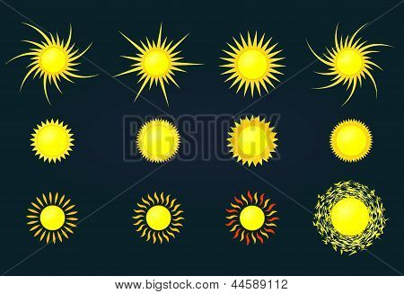Vector set of sun