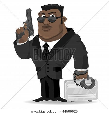 African agent keeps gun and suitcase