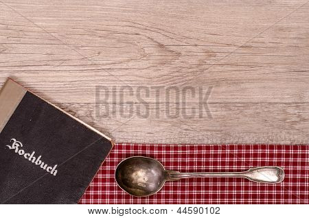 Recipe Book With Old Silver Spoon