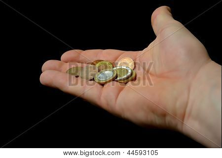 a hand with small change