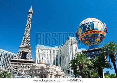 Eiffel Tower Restaurant And Montgolfier Balloon On The Las Vegas Strip In Nevada