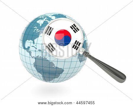 Magnified Flag Of Korea South With Blue Globe