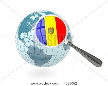 Magnified Flag Of Moldova With Blue Globe