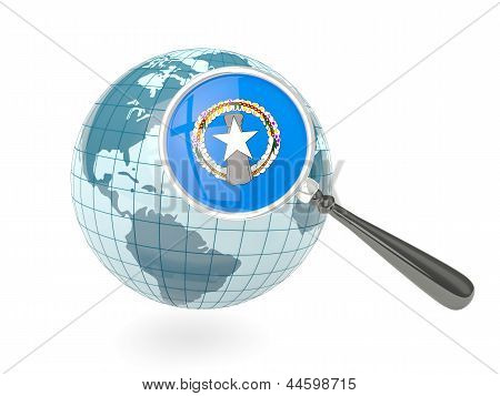 Magnified Flag Of Northern Mariana Islands With Blue Globe