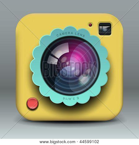 App design yellow photo camera icon