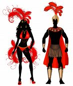 stock photo of monokini  - Vector Illustration Couple for Carnival Red Costume Silhouettes with a man and a woman - JPG