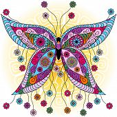 picture of flutter  - Fantasy spring vintage colorful butterfly with flowers on sunny background  - JPG