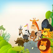 stock photo of jungle  - Illustration of cute various cartoon wild animals from african savannah including lion gorilla elephant giraffe gazelle monkey and zebra with jungle background - JPG