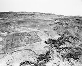 image of masada  - One of several of the Roman encampments that circled the fortress at Masada is still clearly visble after almost 2000 years - JPG