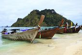 Long Tail Boat Andaman Sea Style In Krabi Provice Southern Of Thailand