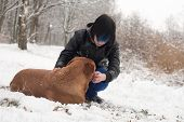 image of emo-boy  - Funky boy is having fun with his dog in the snow - JPG