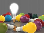 Drawing Idea Pencil And Light Bulb Concept Creative And Leadership