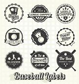 stock photo of softball  - Collection of retro style quality baseball league champion labels and icons - JPG
