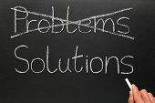 image of solution problem  - Crossing out problems and writing solutions on a blackboard - JPG