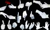 stock photo of indecent  - Set of hands in white gloves on a black background - JPG